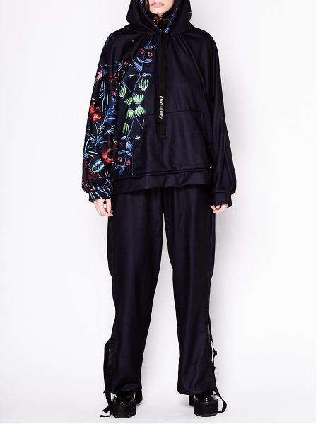 Black Floral Oversized Hoodie