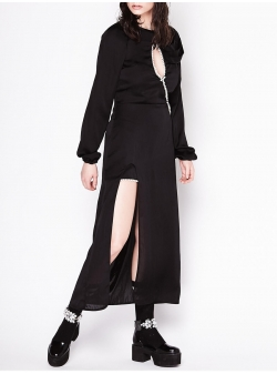 Black Long Dress with Pearl Insertions