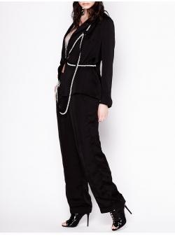 Pantaloni negri cu lant din perle atasat Chic Utility
