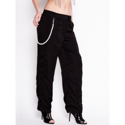 Black Trousers with Detachable Pearl Chain