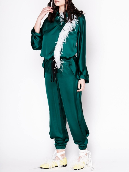 Green Satin Jumpsuit with Feathers