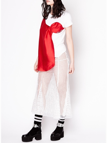 White Top with Red Satin Detail