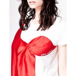 Tricou alb cu aplicatie din satin