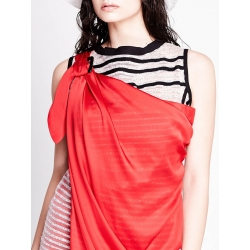 Mini Glittered Dress with Red Satin Detail
