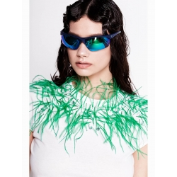 White Top with Green Feathers