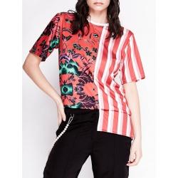 Tricou rosu asimetric cu imprimeu