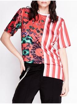 Tricou rosu asimetric cu imprimeu Chic Utility