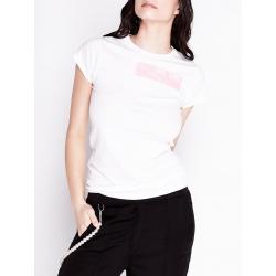 Tricou alb din bumbac cu imprimeu
