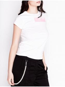 Tricou alb din bumbac cu imprimeu Chic Utility