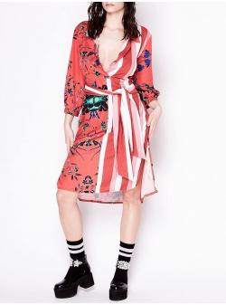 Rochie rosie din matase cu imprimeu Chic Utility