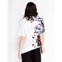 Tricou asimetric cu imprimeu floral Chic Utility
