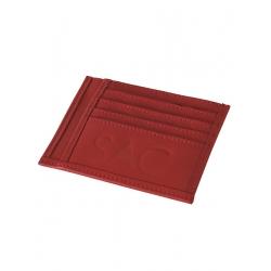 Portcard rosu din piele naturala Sac Bags