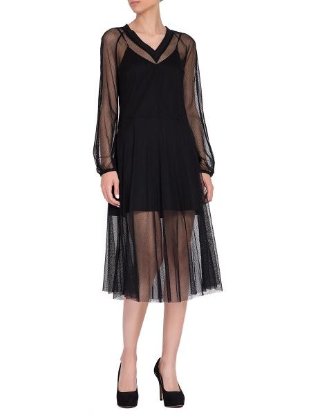 Black Tulle Midi Dress
