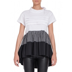 White Blouse With Frills and Round Neckline
