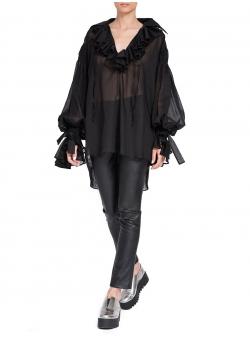 Camasa neagra supradimensionata cu volane Edita Lupea