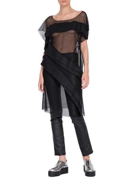 Rochie neagra din tulle cu aplicatii Florentina Giol