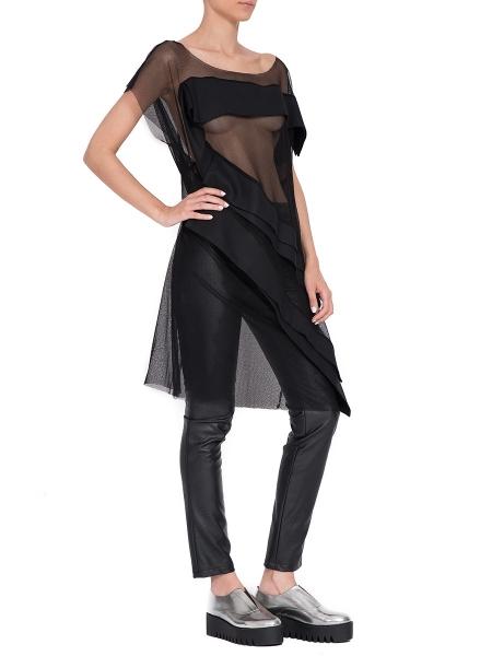 Rochie neagra din tulle cu aplicatii