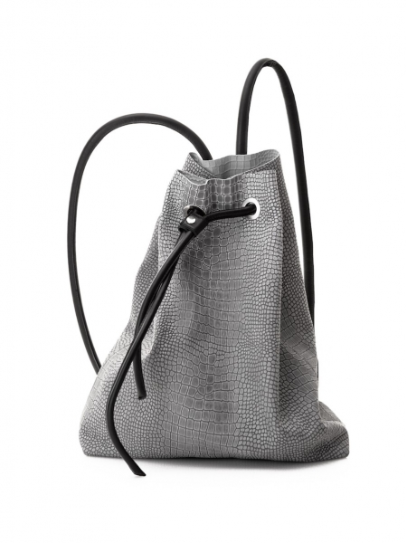 Natural Leather Grey Backpack