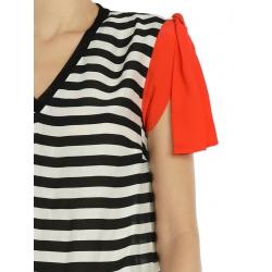 Striped Midi Dress With Orange Details