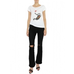 White T-shirt With Butterfly Print