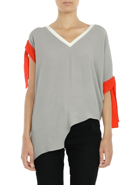 Asymmetric Grey Top With Sleeve Detail