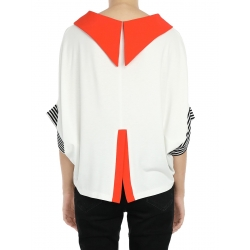 Oversized Collar Top With Orange Details