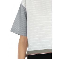Top alb din bumbac cu detalii contrastante Oana Manolescu