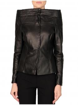 Jacheta din piele naturala cu umeri structurati Florentina Giol