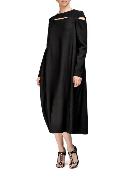 Black Long-Sleeved Viscose Dress