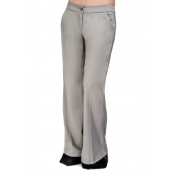 Low-Waist Flared Gray Trousers