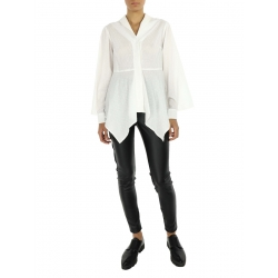 White Asymmetric Shirt with Dots
