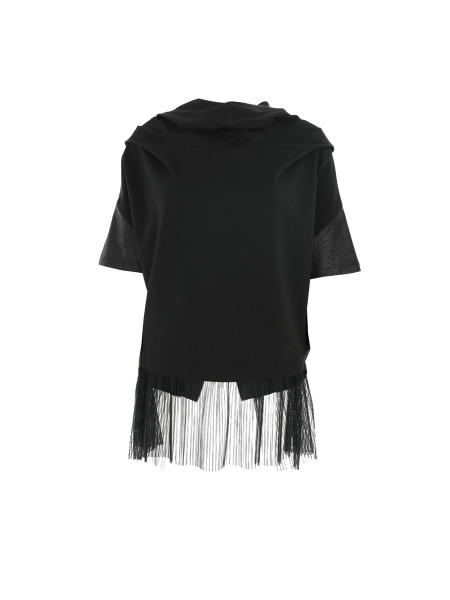 Black Hoodie with Tulle Insertion
