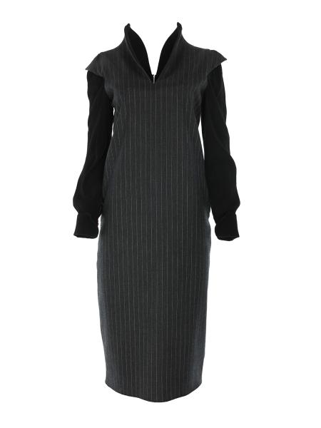 Grey Striped Dress with Geometric Collar