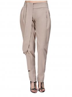 Pantaloni bej cu croiala relaxata si buzunare Florentina Giol