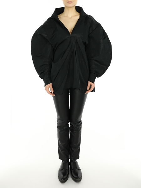 Black Shirt with Oversized Sleeves
