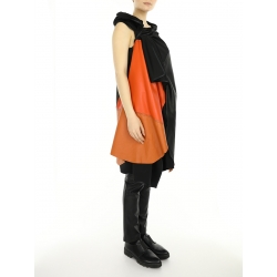 Black Leather Vest with Orange Insertion