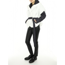 White Short Jacket with Dots