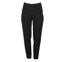 Pantaloni negri cu talie inalta si aplicatii