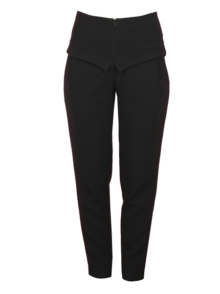 High-Waisted Black Trousers With Panels