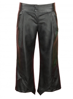 Black Midi Trousers With Panels