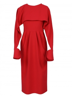 Red Midi Dress With Open Sleeves