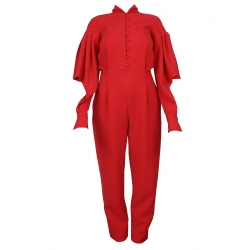 Red Jumpsuit With Open Sleeves