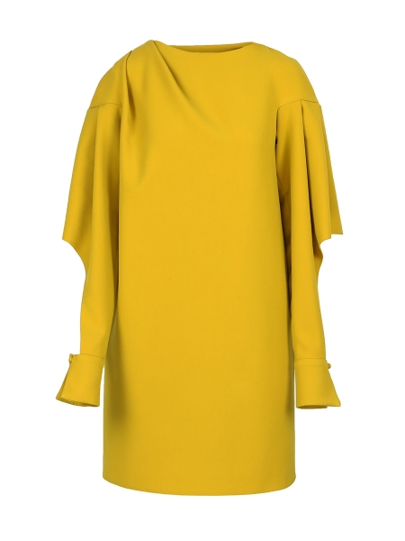Yellow Midi Dress With Open Sleeves