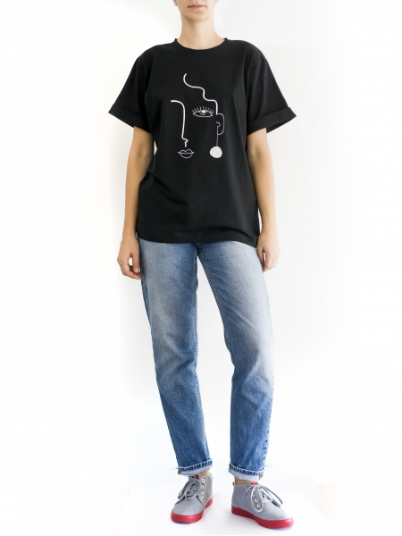 Tricou din bumbac cu imprimeu Asa