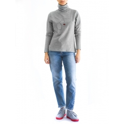 Grey Printed Turtleneck Red Lips Chick