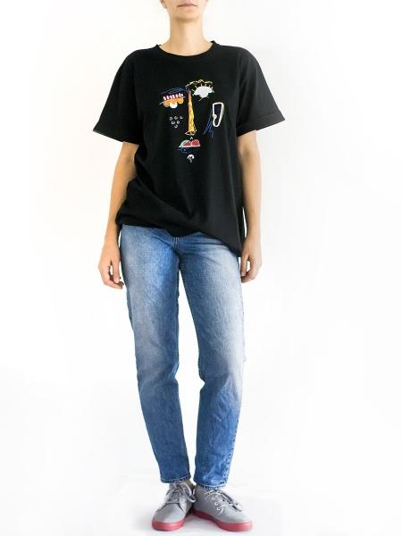 Tricou negru cu imprimeu Sketch