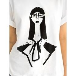 Tricou alb cu inprimeu Toshiko
