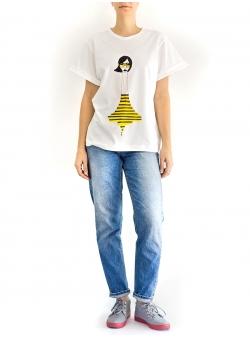 Tricou alb cu imprimeu Yoko