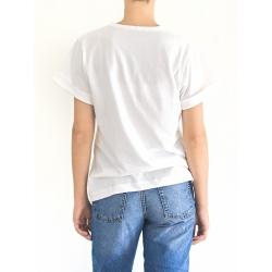 White Cotton T-Shirt With Print Yoko