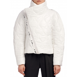 Jacheta alba cu fermoar asimetric I am